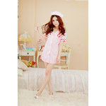 Open-Back, Half-Length Nurse Cosplay Costume (Pink)