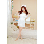 Front Zipper Nurse Cosplay Costume (White)