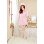 Front Zipper Nurse Cosplay Costume (Pink)