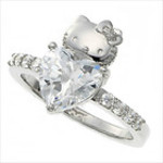 Hello Kitty x Swarovski Silver Heart Love Wedding Engagement Ring