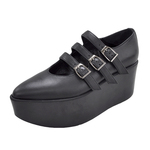 BELLY BUTTON No.111 / Black smooth 3straps shoes
