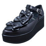 UNBILICAL No.156 / Black triple ribbons shoes