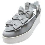 UNBILICAL No.156 / Gray-nubuck triple ribbons shoes