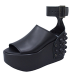 UNBILICAL No.437 / Black smooth leather sandal