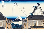 "Reproduced Woodblock Print-Thirty-six Views of Mount Fuji ""Mitsui`s Store at Suruga-cho in Edo""  Tokyo traditional woodcut craft cooperatives certified."