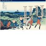 "Reproduced Woodblock Print-thirty-six Views of Mount Fuji ""Senju in Musashi Province""  Tokyo traditional woodcut craft cooperatives certified."
