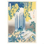"Reproduced Woodblock Print-A Tour of the Waterfalls of the Provinces ""The Yoro Falls in Mino Province""  Tokyo traditional woodcut craft cooperatives certified."
