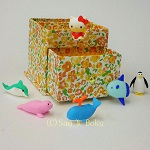 Japanese Erasers Hello Kitty and Cute Aquarium, With storage box.