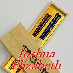 Japanese Chopsticks(Hashi). We make your name a Kanji, and stamped it to Hashi. It is a Navy blue and Red set. Tip is non-slip.