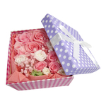 [Upholstered polka dot purple box in pink and served with white roses and a pearl / Preserved Flowers]