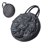 TOKYO BOPPER No.11181A/ Real leather Round handbag Flower / Black
