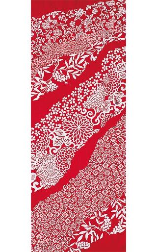 Flower Flow - Tenugui (Japanese Multipurpose Hand Towel) - Crimson