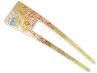 Titanium Hair Stick  (Yuzen Peach)