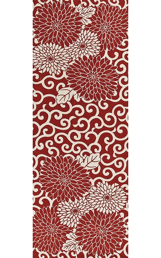 Arabesque Chrysanthemum - Tenugui (Japanese Multipurpose Hand Towel) - Crimson