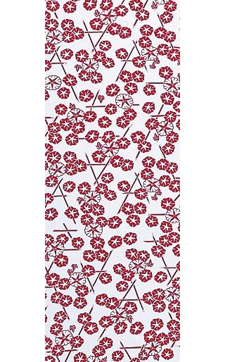 Morning Glory in the Summer - Mini Tenugui (Japanese Multipurpose Hand Towel) - Red
