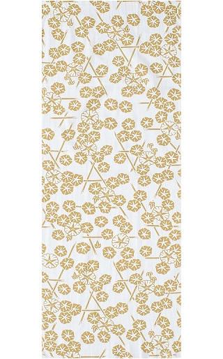 Morning Glory in the Summer - Mini Tenugui (Japanese Multipurpose Hand Towel) - Yellow