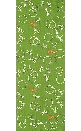 Dragonflies in the Autunm - Mini Tenugui (Japanese Multipurpose Hand Towel) - Green