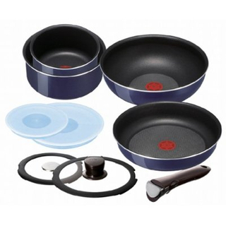 Tefal T Fal Ingenio 10 Item Stackable Cookware Set Sapphire