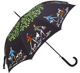 Totes - 8 Rib Auto Open Signature Stick GP Umbrella (Girl Series-Walking The Dog)