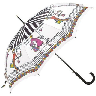 Totes - 8 Rib Auto Open Signature Stick GP Umbrella (Girl Series-Shop Girls)
