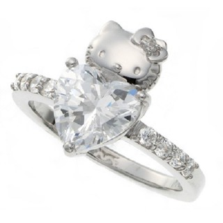 Hello Kitty, sanrio, Swarovski, Silver, ring, Wedding Engagement, Rin,,gift