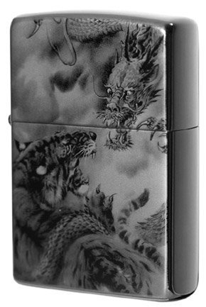 Dragon Zippo - Dragon and Tiger - Black Titanium