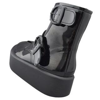 TOKYO BOPPER No.892 /  Black Clarino Enamel belted boots