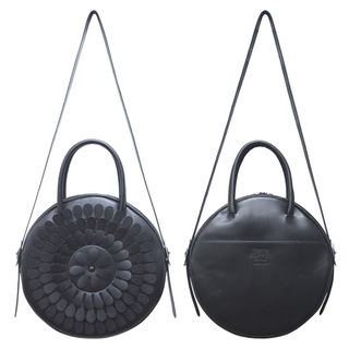 TOKYO BOPPER No.11183/ Real leather Round bag Milk-crown / Black