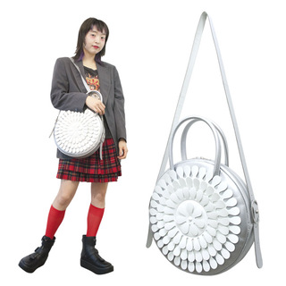 TOKYO BOPPER No.11183/ Real leather Round bag Milk-crown / Silver