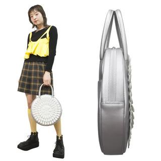 TOKYO BOPPER No.11183A/ Real leather Round handbag Milk-crown / Silver