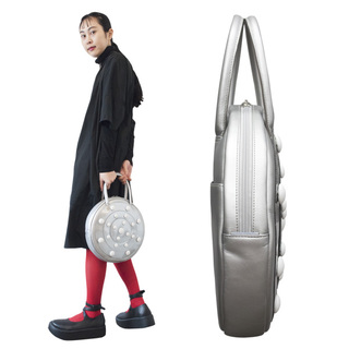 TOKYO BOPPER No.11182A/ Real leather Round handbag Galaxy  / Silver