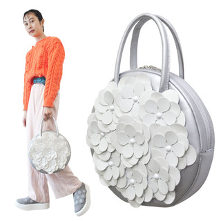 TOKYO BOPPER No.11181A/ Real leather Round handbag Flower / Silver