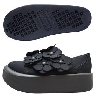 TOKYO BOPPER No.878 /  Black R flower shoes