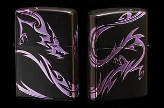 Tribal Zippo - Dragon  (Matte Violet)