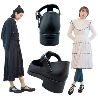 TOKYO BOPPER No.954 / Black & Gold bijou shoes