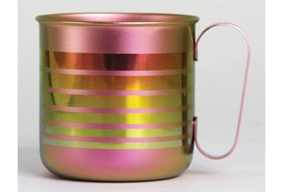 Titanium Mug Cup - Border  (Pink)