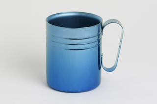 Double-Walled Titanium Mug Cup - Medium with Handle  (Gradation Blue)