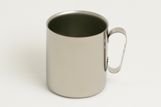 Double-Walled Titanium Mug Cup - Large with Handle  (Platinum)