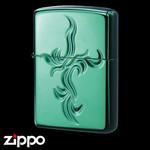 Engraved Zippo - Spiral Cross  (Emerald Black)