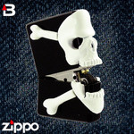 Skull Zippo - Bottoms Up Glow in the Dark Skull  (Black)