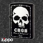 Skull Zippo - CBGB & OMFUG  (Black)
