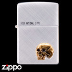 Skull Zippo - The Dead Don't Speak  (Gold)