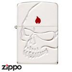 Skull Zippo - Flame  (Silver Satina)