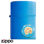 Skull Zippo - The Dead Don't Speak  (Blue)