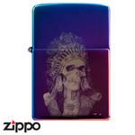 Skull Zippo - Titanium Indian  (Rainbow)