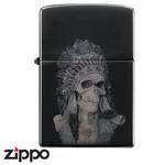 Skull Zippo - Titanium Indian  (Black)