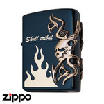 Skull Zippo - Tribal Skull  (Ion Blue)