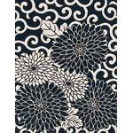 Arabesque Chrysanthemum - Mini Tenugui (Japanese Multipurpose Hand Towel) - Indigo