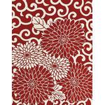 Arabesque Chrysanthemum - Mini Tenugui (Japanese Multipurpose Hand Towel) - Crimson