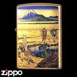 Zippo - Gold Leaf Artwork - Hokusai's Nakahara in Sagami Province
